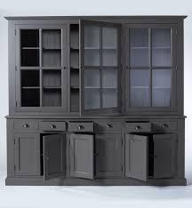 grand buffet de cuisine buffet vaisselier bois gris foncé 9 portes 6 tiroirs made in meubles