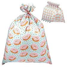 pack of 6 jumbo gift bags plastic gift sacks in donuts