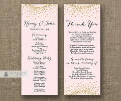 sided wedding program template blush pink gold glitter wedding program sided 4x10
