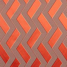 Orange Curtain Material Curtain Fabric Geometric Pattern Silk Polyester Funky