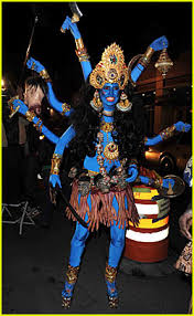 Hindu Halloween Costumes Heidi Klum Blue Indian Goodess Heidi Klum Seal Jared
