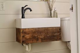 Floating Bathroom Vanity Bathroom Floating Wood Vanity With A Mid Century Flair Floating