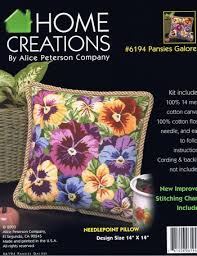 peterson pansies galore pillow needlepoint kit 6194