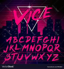 80s retro futurism style font royalty free vector image