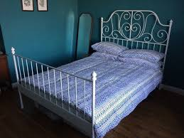 ikea leirvik white metal double bed frame and mattress in temple