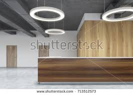 Front View Wooden Reception Desk Standing Stock Illustration