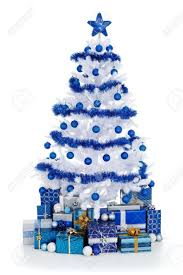 white christmas tree with blue decorations nice decoration