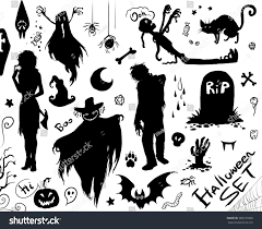 happy halloween set vector collection silhouettes stock vector
