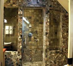 unique bathroom with double shower idea and stone wall design