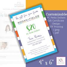 gift certificate printing rodan and fields perks dollars gift certificates promotion