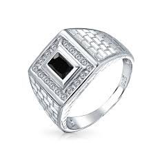 rings silver images Brick pattern rectangle cz mens engagement ring silver jpg