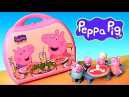 peppa pig pizzeria playset pizza shop carry case playdoh maletín
