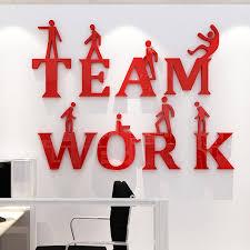 stickers bureau teamwork inspirational slogan 3d stereo wall stickers corporate