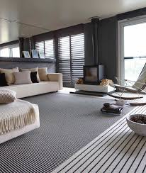monochrome striped carpet stripes lounge black and white living