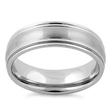 satin finish ring steel thin grooves satin finish band ring
