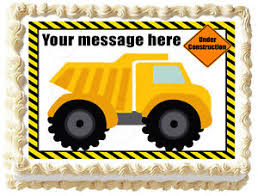 construction cake toppers dump truck construction birthday image edible cake topper ebay