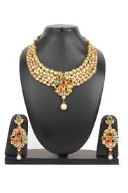 gold plated necklace sets images Dilan jewels pure collection ethnic indian navratna kundan gold jpg