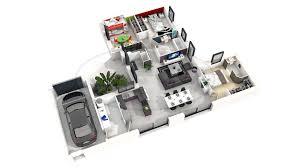 cuisine virtuelle 3d gratuit plan maison 3d gratuit 3 mod232le de maison moderne 3 chambres en