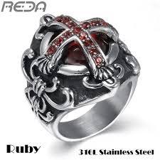 steel male rings images Sales vintage red jewelry oth cross rings for men cool vampire jpg