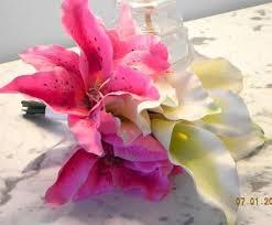Silk Calla Lilies Wedding Bridal Bouquet 2 Pieces Silk Calla Lilies Pink Stargazer