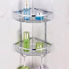 Corner Shelves For Bathroom Wall Mounted Wall Mounted Dual Tier Shelves Corner Shelving For Bathrooms