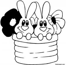 printable easter bunnies flowers coloring printable