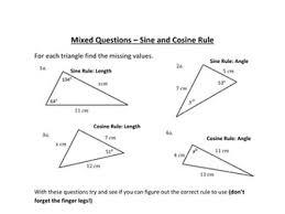 sine and cosine rule worksheet by holyheadschool teaching