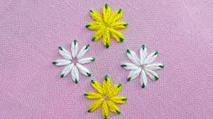 lazy daisy double colour thread flower stitch hand embroidery