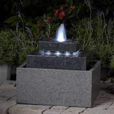 nice outdoor fountains with lights square shape with led lights