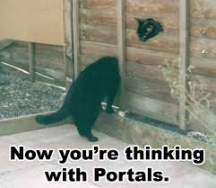 Thinking Cat Meme - now you re thinking with portals cat macros