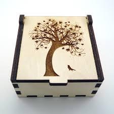 tree of jewelry box wood trinket box small jewelry laser