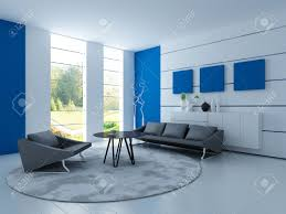 light blue living room with black sofa stock photo picture and