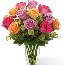 colored roses enchantment bouquet mixed colored roses in bright pink
