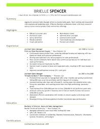 assistant manager resume assistant supervisor resume assistant manager resume sle and get
