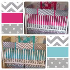 aqua teal and fuchsia pink boy twin crib bedding too