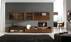 Bedroom Living Room Design Idea With Brown Wooden Wall Shelf - Design wall units for living room
