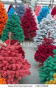 multi colored flocked trees stock images royalty free