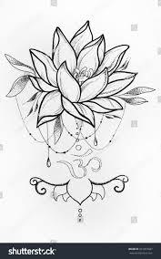 sketch lotus om signs on white stock illustration 561810037