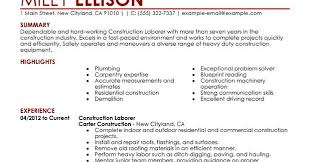 resume for construction worker template billybullock us