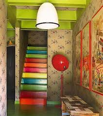 Painted Stairs Design Ideas Wooden Stairs With Painted Stripes Updating Interior Design In