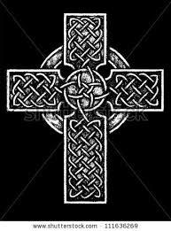 ancient celtic cross black white version stock vector 111636269