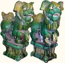 green foo dogs asian foo dogs in green 13 h for office decor