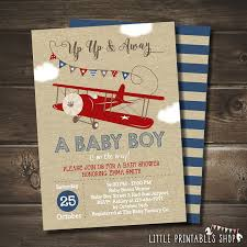 vintage airplane baby shower airplane baby shower invitation with free blue striped back