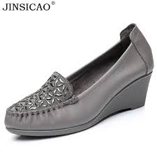 new product genuine leather crystal wedges women u0027s shoes