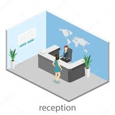 World Map Desk by Isometric Interior Of Reception World Map On The Wall U2014 Stock