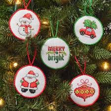 30 mini ornaments counted cross stitch kit