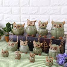 Gift Craft Home Decor by Japan Style Ceramic Owl Figurines Handmade Porcelain Animal