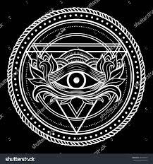 blackwork dotwork tattoo eye providence masonic stock vector