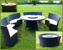Curved Wicker Patio Furniture - rattan curved patio set with 4 benches black curved patio chairs