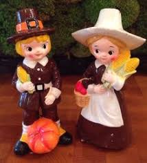 r b japan vintage thanksgiving pilgrim figurines and boy